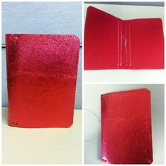 Red metallic leather Field Notes size travelers by luxurycardstore