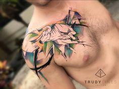 Bull tattoo on the chest. Tattoo artist: Corina Weikl · Trudylines