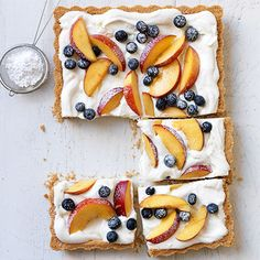 This cool and creamy dessert is a refreshing end to any summer meal. It's light with the perfect amount of indulgence. Recipe: Cream, Berry, and Nectarine Tart   - Delish.com