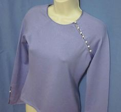Ann Taylor Womens Sweater XS Light Blue Top Silk Cashmere Blend Button Accent…