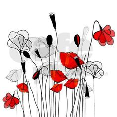 Whimsical Red Poppies Shower Curtain on CafePress.com