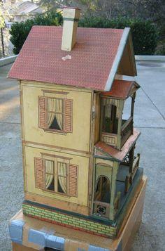 Antique German Gottschalk Red Roof paper litho doll house c1908 from sondrakruegerantiques on Ruby Lane