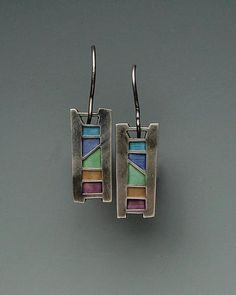 Indian Ladder Earrings No. 152: Carly Wright: Silver & Enamel Earrings - Artful Home