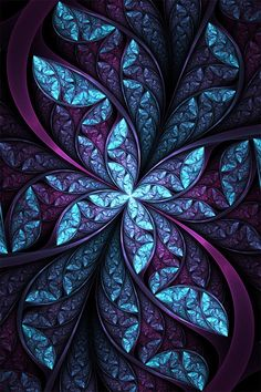 It looks like a stained glass window but I think it is a fractal, Stained Glass Art, Stained Glass Windows, Mosaic Glass, Window Glass, Glass Vase, Ps Wallpaper, Mobile Wallpaper, L'art Du Vitrail, All Things Purple