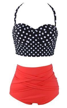 Women's Halter Polka Dot Crop Top High Waist Swimsuit Set