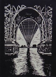 Manhattan bridge - Linogravure #bridge #états-unis #linogravure #retro #new-york #bridge #usa #manhattan #linocut #manhattanbridge