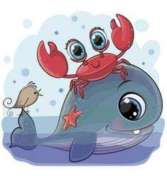 Cartoon Whale with crab and bird. Cute Cartoon Whale with crab and bird royalty free illustration Cartoon Cartoon, Rainbow Cartoon, Cartoon Whale, Cute Cartoon Girl, Cartoon Mignon, Baby Deer, Cute Images, Disney Cartoons, Whimsical Art