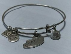 Authentic Alex and Ani 1/2 of Best Friends Rafaelian Silver Charm Bangle energy