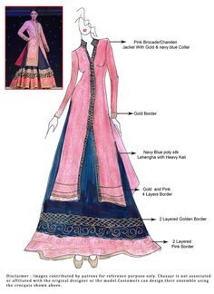 DIY Blue Art Silk Long Choli Lehenga