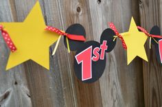 Custom banner made to order, 5.5 inch Mickey Ears. Happy Birthday Banner is $20.00. Each additional letter is $1.00. Please send me a message if you wish to have a custom name added to your banner.
