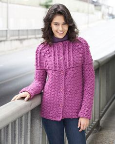 An elegant textured yoke adds sophistication to this pretty cardigan. - free crochet pattern