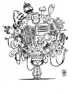 #DailySketch Mind Machine. by Skottie Young