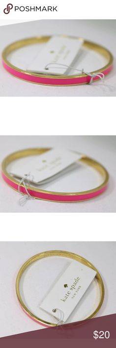 """Kate spade Bangle Kate Spade Gold Tone Pink Enamel Hot to Trot Bangle Bracelet .  The item is NWT but It has some wear on the inner metal ring as shown.  It is about 2.75"""" in kate spade Jewelry Bracelets"""