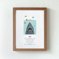 Ilustración. Tiburón. Póster inspirado en la película de Steven Spielberg. Decoración. Regalo. Pared. Habitación. Casa. Hogar.