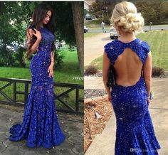 Royal Blue Lace Prom Dresses Sparkly Crystals Open Back Sleeveless Mermaid See Through 2016 New Women Pageant…