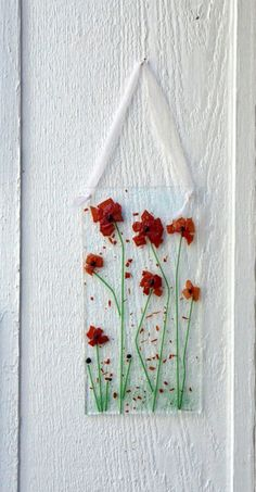 Red Poppies SunCatcher, Red Fused Glass, Handmade Fused Glass Sun Catcher Ornament Window Decor - pinned by pin4etsy.com