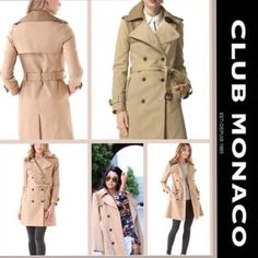 HP EFFORTLESS STYLE 8/11 CLUB MONACO Harper Classic Trench with a Twist.. Leather Collar, Double Breasted Trench. Club Monaco Jackets & Coats