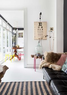 Living room in a Dutch home with colorful details