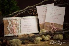 Shabby chic wedding invitation set