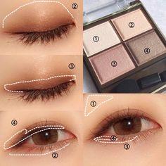 Pin by Rakuzan Mayuyu on メイク in 2020 Day Eye Makeup, Monolid Makeup, Soft Eye Makeup, Asian Eye Makeup, Eye Makeup Steps, Beautiful Eye Makeup, Cute Makeup, Eyeshadow Makeup, Eyeshadow Ideas