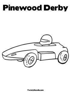 Race car coloring page for the younger siblings during for Boy scouts pinewood derby templates