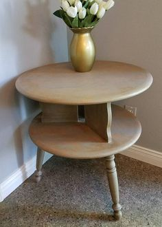 Round End Table or Nightstand Hand Painted Solid Maple End