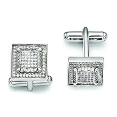 Sterling Silver & CZ Brilliant Embers Cufflinks QMP427 (9.76 Grams)