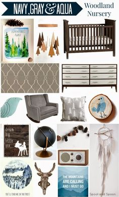 Spool and Spoon: Navy, Gray, and Aqua Woodland Nursery Inspiration - and it's the perfect mix contemporary and rustic. Love it for our baby boy!