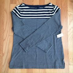 GAP navy and white striped top Boat neck with long sleeves. Perfect for summer nights! Reasonable offers always considered! GAP Tops Tees - Long Sleeve