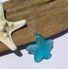 Aqua Starfish Sea Glass Necklace ~ Sterling Silver Beach Glass Jewelry ~ Beach…