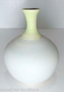 Pastel Pottery Green Blue Vase Matte Finish Blue Chartreuse Brown Signed