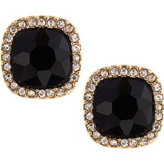 Fragments Cushion-Cut Pave Stud Earrings ($20) ❤ liked on Polyvore featuring jewelry, earrings, accessories, rhinestone stud earrings, disc stud earrings, black rhinestone jewelry, black rhinestone stud earrings y pave jewelry