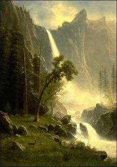 Bridal Veil Falls, Yosemite National Park. Albert Bierstadt - Hudson River School Movement