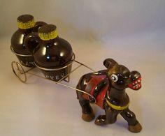 Vintage Salt and Pepper Shakers, Burro Donkey pulling cart with jug salt and pepper shakers