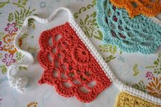 """I found a little pattern on Ravelry this summer that I fell in love with. It's called """" Half Lotus Bunting """". I found it very challenging..."""