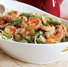 Garlicky Shrimp with Asparagus and Lemon. Fresh,  light and delicious!  I'll certainly make this again!
