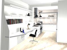 Dit was het laatste ontwerp van de keukenboer. Mooi: het dikke aanrechtblad, brede robuuste grepen, het fornuis en het open werkgedeelte dat in lijn is met de keuken en de symmetrie van het fornuis en de kastjes. Niet mooi: de lampen boven het aanrecht.