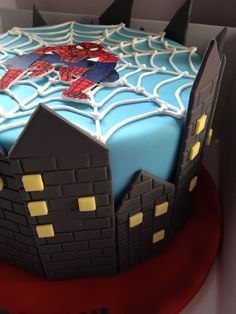Spiderman Cake---If I'm turning am I too old to have a cake as cool as this? Spiderman Cookies, Superhero Cookies, Superhero Cake, Fondant Cakes, Cupcake Cakes, Doraemon Cake, Specialty Cakes, Fun Cupcakes, Cakes For Boys