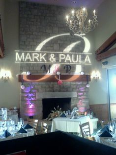 Personalized gobo for your wedding reception - your name in lights.  www.tkprodeejay.com