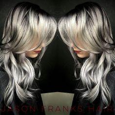 Grey hair chrome hair winter fall 2015 2016 hair color balayage baliage shadow root white blonde hairporn redken silver hair granny hair fashion Jason Franks The Artisan Company