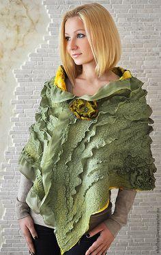 """Купить """"Весна"""". Двусторонний палантин. Нуновойлок. - однотонный, шарф, палантин, валяный шарф, валяный палантин"""