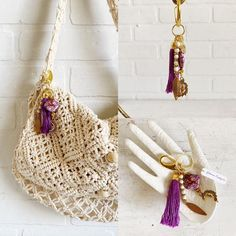 Boho Keychain Tassel Keychain Purple Keychain Crystal | Etsy