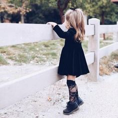 BLACK LACE Knee High Socks - The most beautiful children's fashion products Cute Baby Girl Outfits, Toddler Girl Outfits, Toddler Fashion, Kids Fashion, Fashion Black, Fashion Women, Outfits Niños, Fashion Outfits, Fashion Clothes