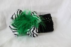 Zebra Print Boutique Hairbows with a GREEN center by fashionbaby, $6.99