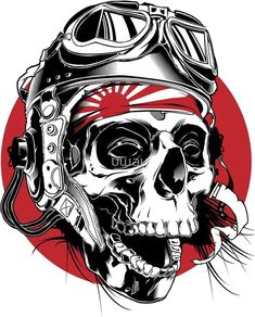 Kamikaze Pilot illustration on Behance Skull Tattoos, Tatoos, Bear Tattoos, Kamikaze Pilots, Sketch Manga, Sketch Art, Totenkopf Tattoos, Trash Polka, Oldschool
