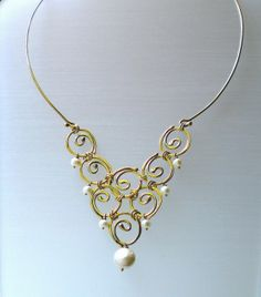 Sterling Silver Mandala Necklace - Gold Plated -  Pearls - Handmade - Fine Jewelry - Bridal