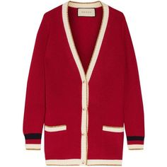 Gucci Metallic-trimmed wool-blend cardigan ($1,275) ❤ liked on Polyvore featuring tops, cardigans, jackets, red stripe top, striped top, gucci top, loose tops and red cardigan