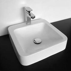 $149 Designer solid surface countertop basin (modified acrylic resin).    Dimensions: 410 x 410 x 100 mm     Weight: 7.5 kg    Very resistant & easy to clean    Water resistant & hard-wearing    Keeps bacteria away    Regenerated surface    Environmentally friendly    Remarks:    -The tapware, drain & siphon are not included  -No overflow hole
