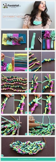 How to make trendy and eco-friendly girls necklaces? Easily use the overhand knots and leftover fabric scraps or old T-shirts for a diy fabric necklace which coordinates perfect with any outfit.