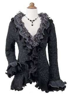 Fall Apparel Sale - Ruffly Grey and Black Sweater
